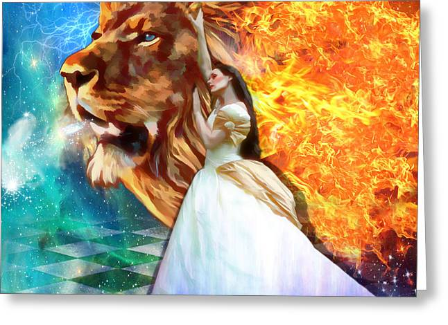 Lions Greeting Cards - Perfect peace in perfect Love Greeting Card by Dolores Develde
