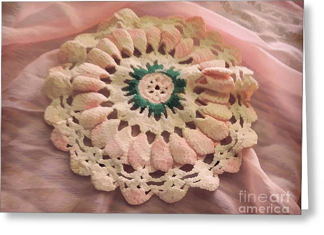 Crocheted Doily Greeting Cards - Perfect Pinks Greeting Card by Grace Dillon