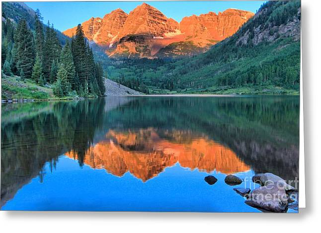 Perfect Reflections At The Bells Greeting Card by Adam Jewell