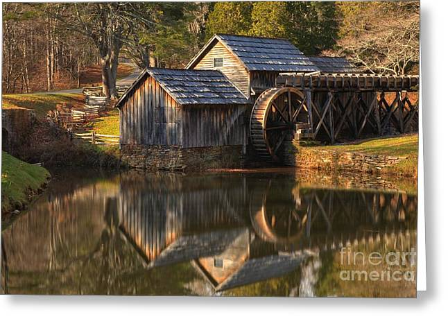 Blue Ridge Parkway In Fall Greeting Cards - Perfect Reflections Of Mabry Mill Greeting Card by Adam Jewell