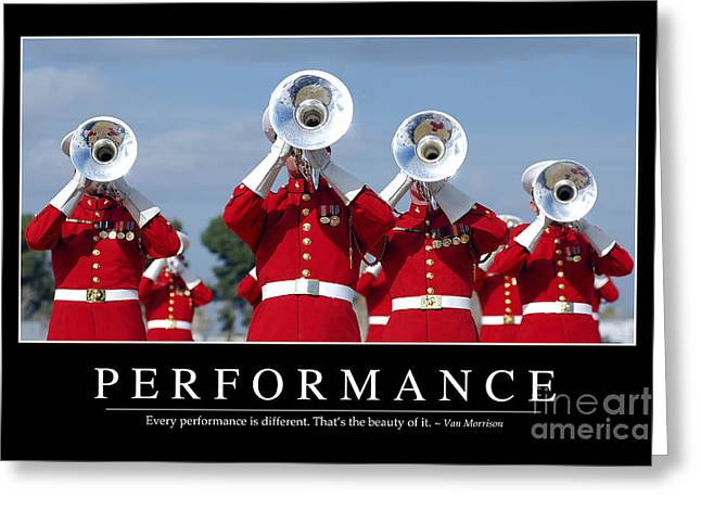 Marching Band Greeting Cards - Performance Inspirational Quote Greeting Card by Stocktrek Images