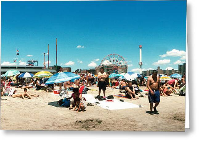York Beach Greeting Cards - Performers At The Coney Island Mermaid Greeting Card by Panoramic Images