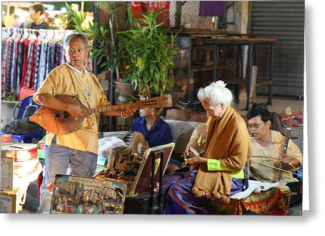 Market Photographs Greeting Cards - Performers - Night Street Market - Chiang Mai Thailand - 01134 Greeting Card by DC Photographer