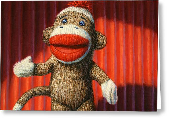 Toys Paintings Greeting Cards - Performing Sock Monkey Greeting Card by James W Johnson