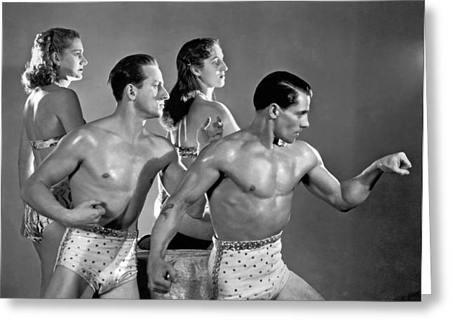 Performing Troupe Strike Pose Greeting Card by Underwood Archives