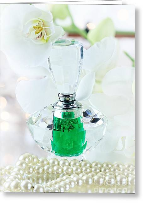 Glass Bottle Greeting Cards - Perfume and Pearls Greeting Card by Stephanie Frey