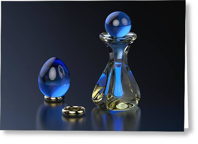 Perfumeries Greeting Cards - Perfume Bottle - Hint of Blue Greeting Card by Hakon Soreide
