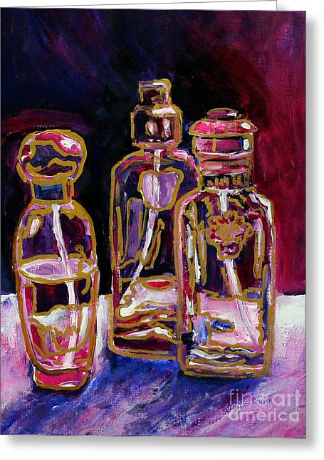 Oriental Sculptures Greeting Cards - Perfume Bottles Greeting Card by Priti Lathia