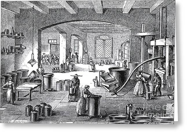 Perfumer Greeting Cards - Perfume Factory, 19th Century Greeting Card by Science Source