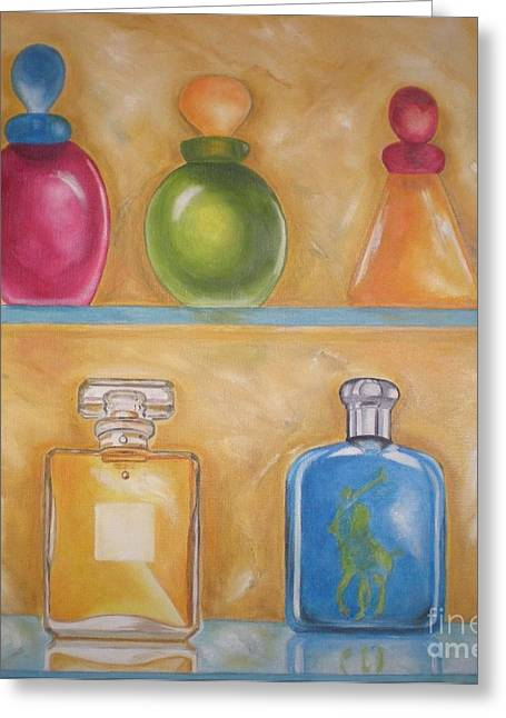 Bottle Cap Paintings Greeting Cards - Perfume Greeting Card by Graciela Castro