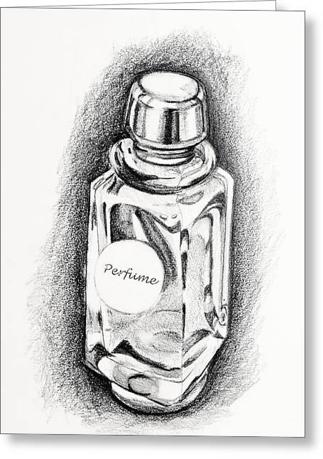 Art Product Drawings Greeting Cards - Perfume Bottle Greeting Card by Vizual Studio
