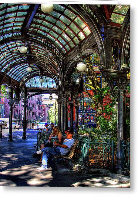 Pioneer Square Seattle Greeting Cards - Pergola Shadow Play Greeting Card by David Patterson