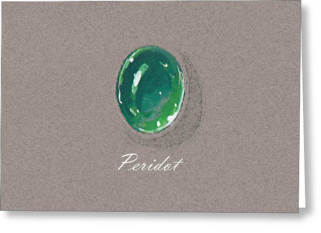Carat Paintings Greeting Cards - Peridot cabochon Greeting Card by Marie Esther NC
