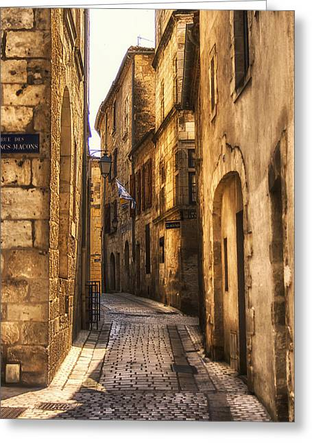 Traditional Doors Greeting Cards - Perigueux Street Greeting Card by Nomad Art And  Design