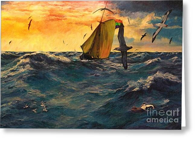 Tern Digital Art Greeting Cards - Peril at Sea Greeting Card by Lianne Schneider