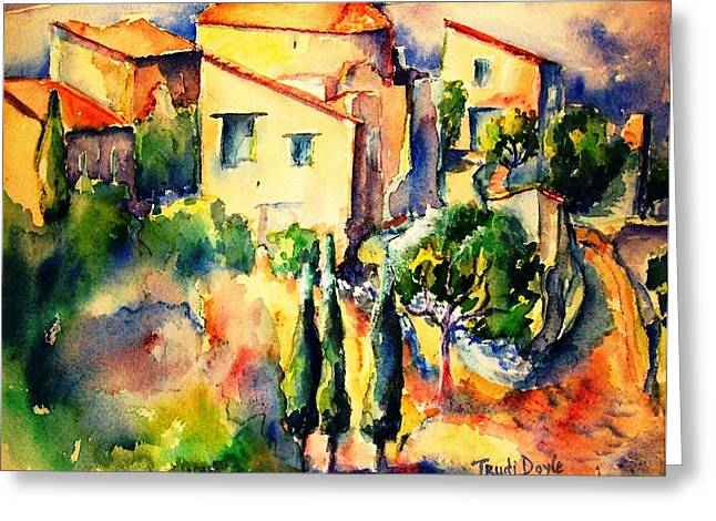 Languedoc Paintings Greeting Cards - Perillos Abandoned French Village    Greeting Card by Trudi Doyle