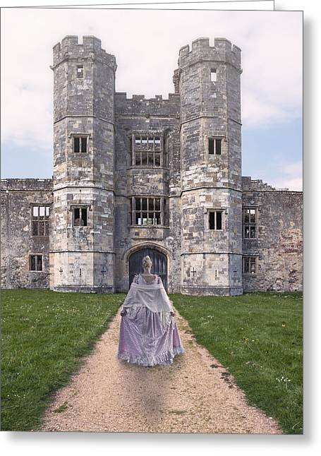 Period Greeting Cards - Period Lady In Front Of A Castle Greeting Card by Joana Kruse