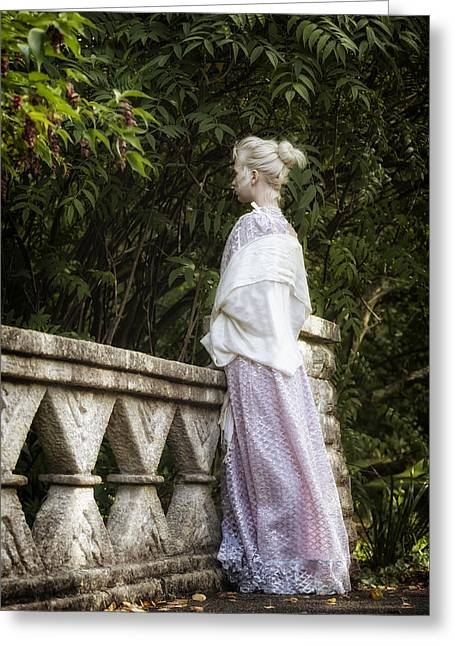 Period Greeting Cards - Period Lady On Bridge Greeting Card by Joana Kruse