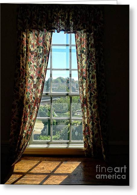 Period Photographs Greeting Cards - Period window with floral curtains Greeting Card by Edward Fielding