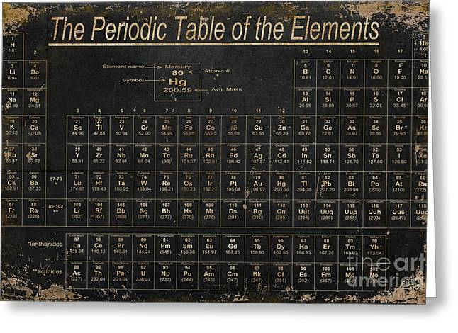 Table Greeting Cards - Periodic Table of the Elements Greeting Card by Grace Pullen