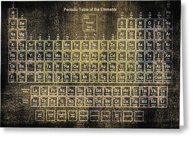 Helium Greeting Cards - Periodic table of the elements vintage blackboard Greeting Card by Eti Reid