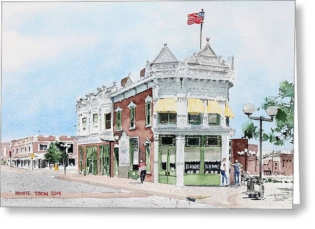 Located Greeting Cards - Perkins Building Greeting Card by Monte Toon