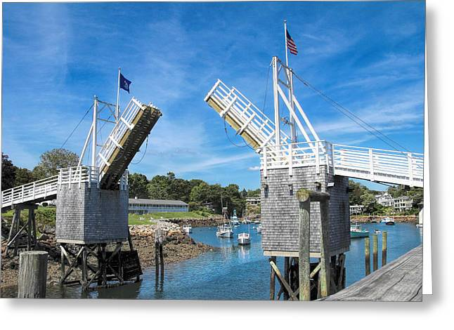 Perkins Cove Drawbridge Greeting Card by Jemmy Archer