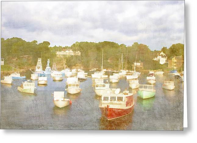 Shelter Greeting Cards - Perkins Cove Lobster Boats Maine Greeting Card by Carol Leigh