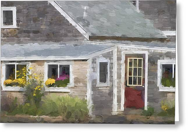 Perkins Cove Maine Painterly Effect Greeting Card by Carol Leigh