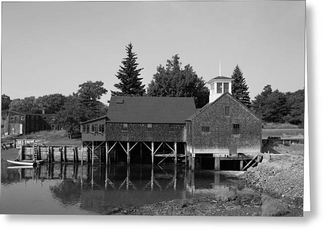 Old Maine Houses Greeting Cards - Perkins Tide Mill - Kennebunk Maine 1965 Greeting Card by Mountain Dreams