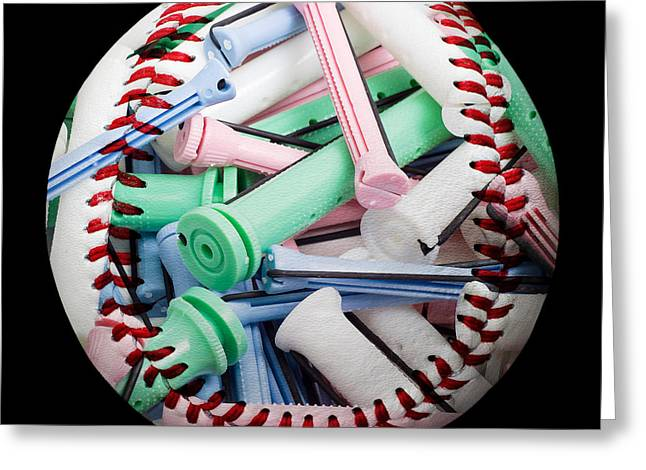 Take-out Greeting Cards - Perm Rods Baseball Square Greeting Card by Andee Design