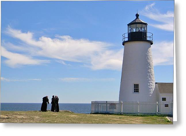Maine Lighthouses Greeting Cards - Permaquid Lighthouse Visitors Greeting Card by Jean Goodwin Brooks