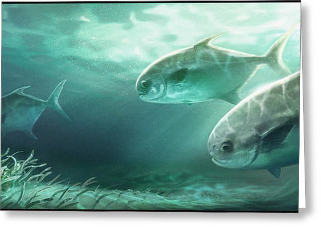 Blue Green Water Digital Greeting Cards - Permit Prowl Greeting Card by Javier Lazo