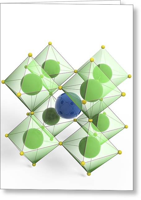 Titanium White Greeting Cards - Perovskite mineral, molecular model Greeting Card by Science Photo Library