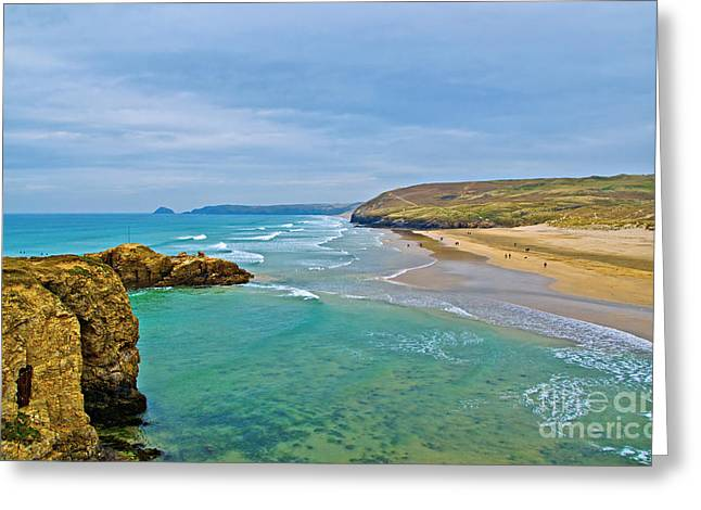 Overgrown Greeting Cards - Perranporth Beach Greeting Card by Chris Thaxter