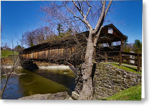Historical Images Greeting Cards - Perrines Covered Bridge Greeting Card by Pamela Phelps