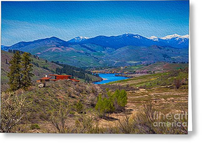 Methow Valley Greeting Cards - Perrygin Lake in the Methow Valley Landscape Art Greeting Card by Omaste Witkowski