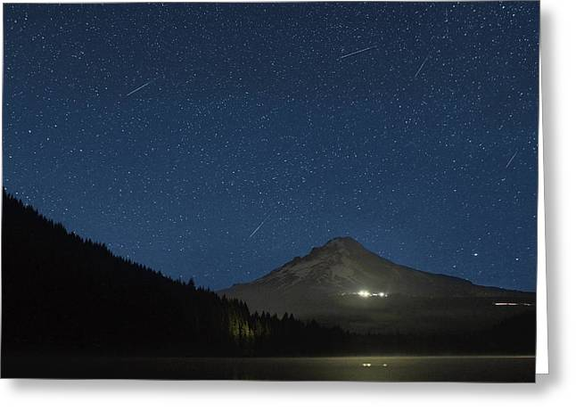 Perseid Meteor Shower Greeting Cards - Perseid Meteor Shower at Trillium Lake 2013 Greeting Card by David Gn