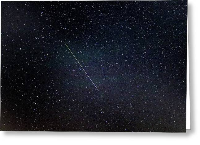 Perseid Meteor Trail Greeting Card by Chris Madeley
