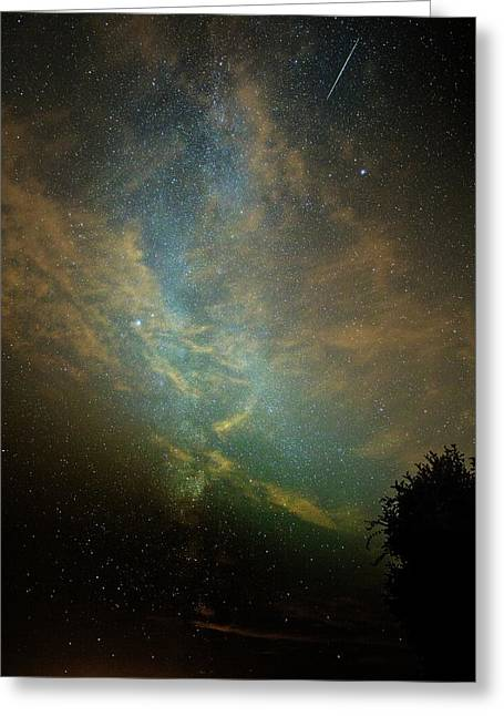 Perseid Meteor Trail In The Night Sky Greeting Card by Chris Madeley