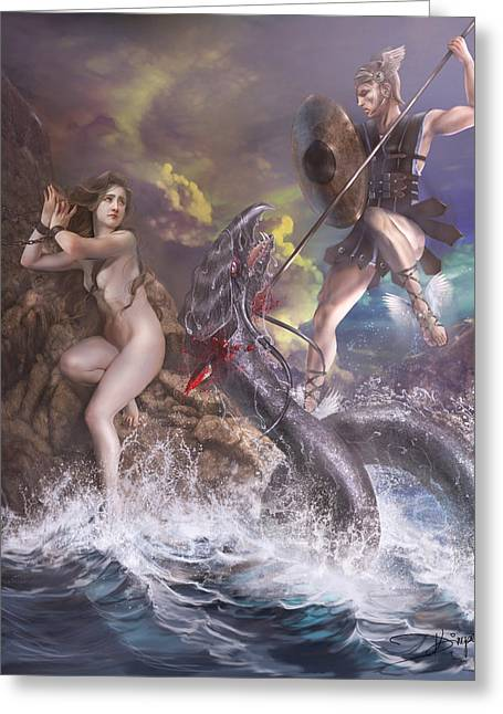 Perseus Greeting Cards - Perseus and Andromeda Greeting Card by Drazenka Kimpel