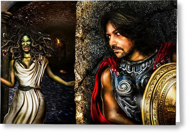 Medusa Digital Greeting Cards - Perseus and Medusa Greeting Card by Alessandro Della Pietra