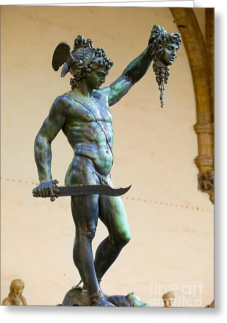 Medusa Greeting Cards - Perseus and Medusa Greeting Card by Brian Jannsen