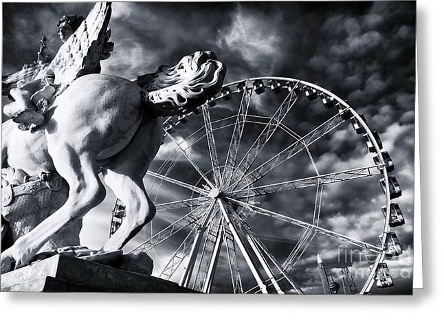 Perseus Greeting Cards - Perseus and the Big Wheel Greeting Card by John Rizzuto