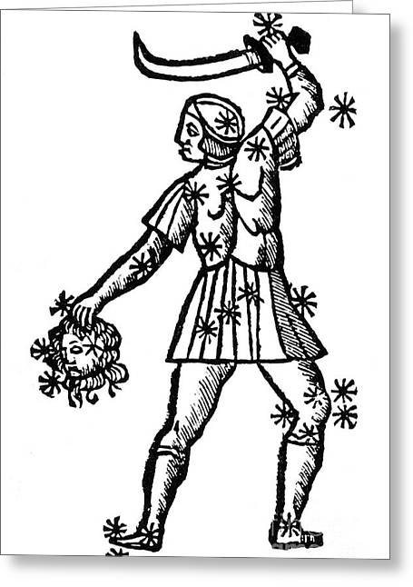 Constellations Greeting Cards - Perseus Constellation, 15th Century Greeting Card by Science Source