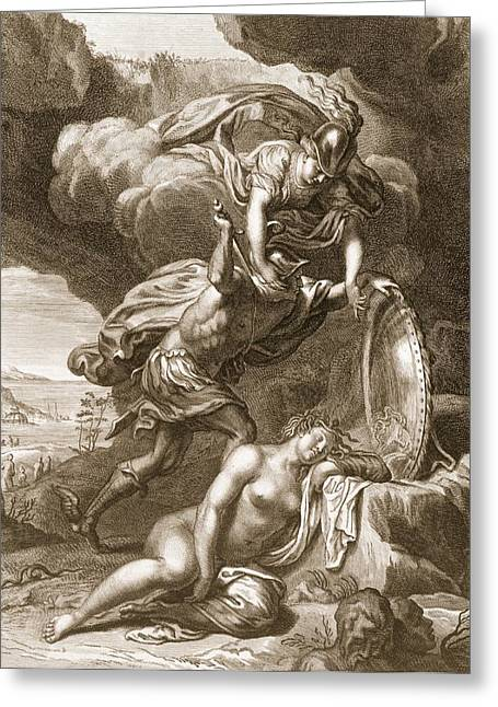 Medusa Greeting Cards - Perseus Cuts Off Medusas Head, 1731 Greeting Card by Bernard Picart