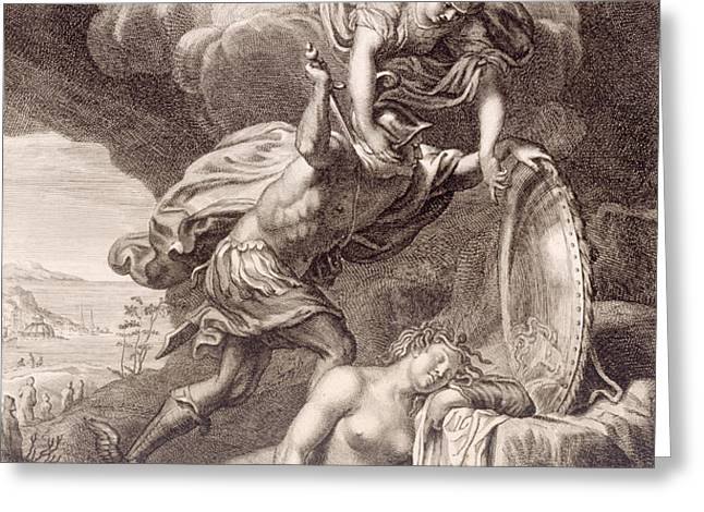 Perseus Cuts Off Medusa's Head Greeting Card by Bernard Picart
