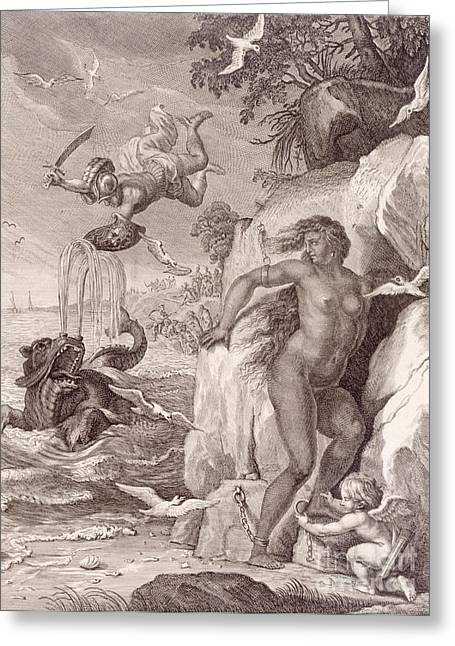 Sea Monster Mythology Greeting Cards - Perseus Delivers Andromeda from the Sea Monster Greeting Card by Bernard Picart