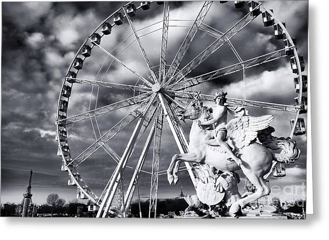Horses On Sale Greeting Cards - Perseus in Paris Greeting Card by John Rizzuto