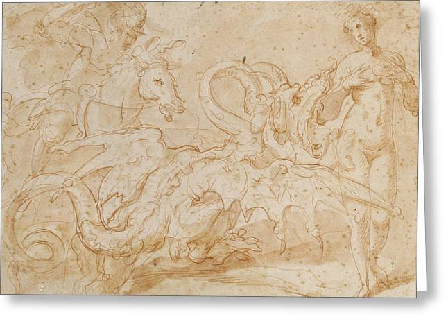 Rescue Greeting Cards - Perseus Rescuing Andromeda Red Chalk On Paper Greeting Card by or Zuccaro, Federico Zuccari